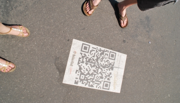 We saw The Future on the streets of Berlin: bar codes on pavements.