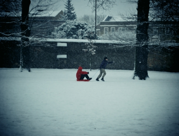 The advantage of a sledge as a mode of transport is that there's not going to be someone listening to loud music behind you.