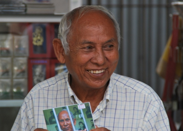Chum Mey, one of only 12 survivors of S-21, the infamous prison where over 17,000 people were tortured and subsequently killed under the Khmer Rouge. He visits the prison everyday to sell his book and to talk to tourists.