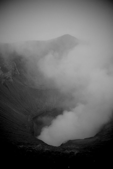 Mount Bromo by morning light. Steaming like a hot cup of tea outside on a cold morning, except without any of the benefits of warming your hands or making you feel cosy inside.